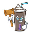 judge ice chocolate mascot cartoon vector image vector image