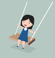 little girll playing in a swing vector image vector image