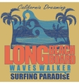 Long Beach surfing t-shirt graphic design vector image vector image