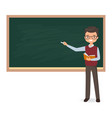 male teacher is writing chalk on a blackboard vector image