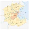 map greater boston metropolitan region vector image vector image