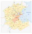 map of the greater boston metropolitan region vector image vector image