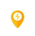 map pointer pin icon with electricity sign vector image vector image