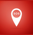 marker location with sos icon on red background vector image vector image