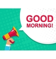 Megaphone with GOOD MORNING announcement Flat vector image