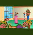 muslim florist working at the store vector image vector image