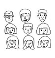 people face icon hand draw vector image vector image