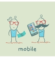 people selling mobile girl vector image vector image