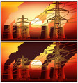 power station at sunset vector image vector image
