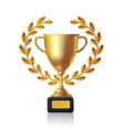 realistic golden champion cup with lauren wreath vector image
