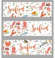 Sea food horizontal banner flat style Seafood vector image vector image