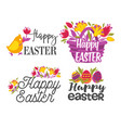set easter greeting logos or labels with eggs vector image