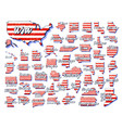 set us 50 states map with american flag color vector image