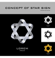 Six point star logo design template black white vector image vector image