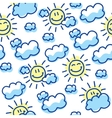 suns and clouds vector image