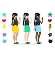 teenager girls with black hair character vector image vector image