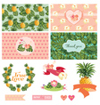 Tropical Floral Wedding Set vector image vector image
