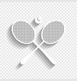 two tennis racket with ball sign white vector image vector image