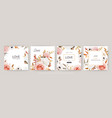 watercolor floral wedding invite greeting card set vector image vector image
