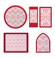 window and door with asian pattern vector image vector image
