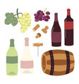 winemaking hand drawing set wine bottles grape vector image vector image