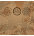 Bright card on three doodle circles background vector image