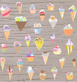 Ice cream set - retro style hand drawn vector image