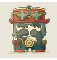 Steampunk dirigible pilot with goggles and hat vector image