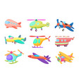 aeroplanes in cartoon style vector image