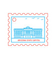 arizona state capitol postage stamp blue and red vector image