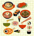 asian food Japanese dishes vector image