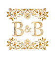 bb vintage initials logo symbol letters b vector image