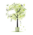 Beautiful spring tree in pot for your design vector image vector image
