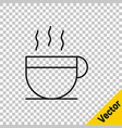 black line coffee cup icon isolated on transparent vector image vector image