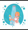 blond woman washing herself with sponge in shower vector image