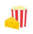 bucket of popcorn with cheese flat vector image vector image