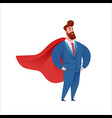 business man super hero in suit and cape vector image vector image