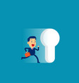 businessman running to large keyhole concept cute vector image