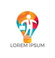 businessman standing inside a light bulb logo vector image vector image