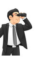 businessman with binoculars vector image vector image