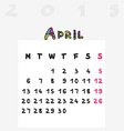 calendar 2015 april vector image vector image