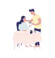 caring man bringing serving food to pregnant woman vector image