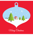 christmas ball red card vector image vector image