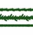 christmas garland with fir branches set of green vector image vector image