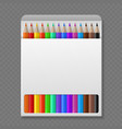 color pencil in box wooden colored crayons vector image vector image