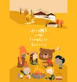 cute cartoon friends sitting around bonfire vector image vector image