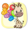 cute cartoon giraffe with balloon vector image vector image