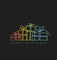 dark happy birthday with presents vector image vector image