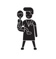 doctor with a child black concept icon vector image