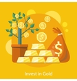 Dollar Tree in Pot Bag behind of Coins and Bullion vector image